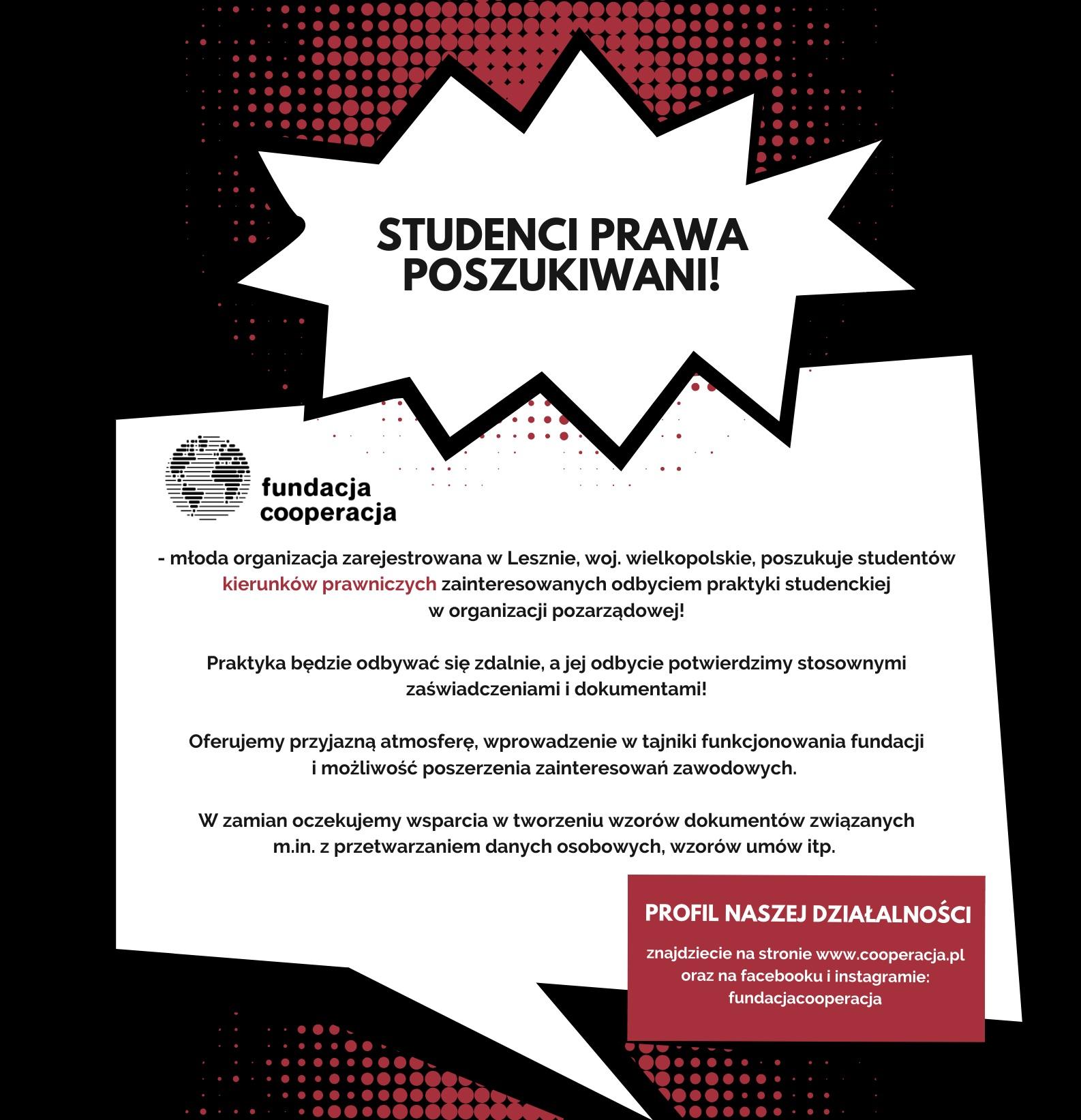 Oferta praktyk dla studentów kierunków prawniczych