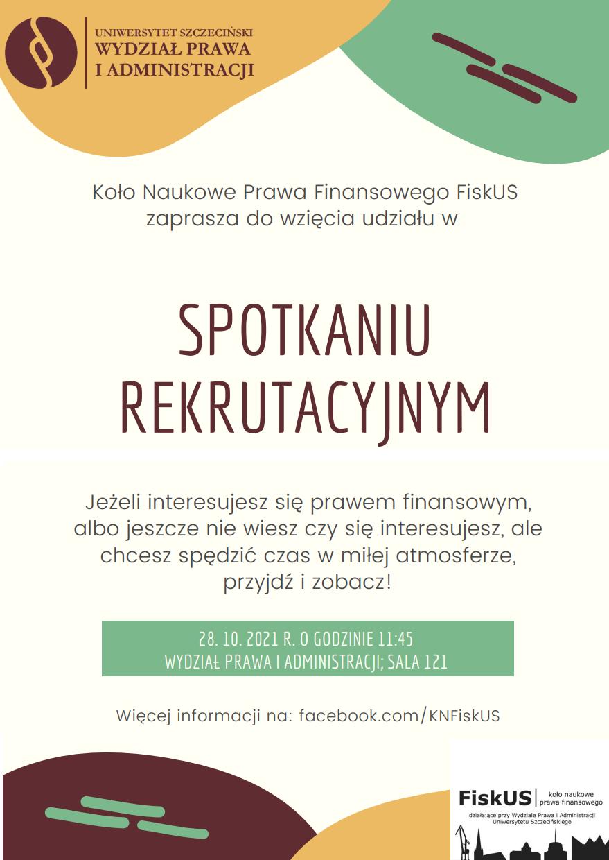 """Spotkanie rekrutacyjne – Koło Naukowe Prawa Finansowego """"FiskUS"""" (28 X 2021)"""