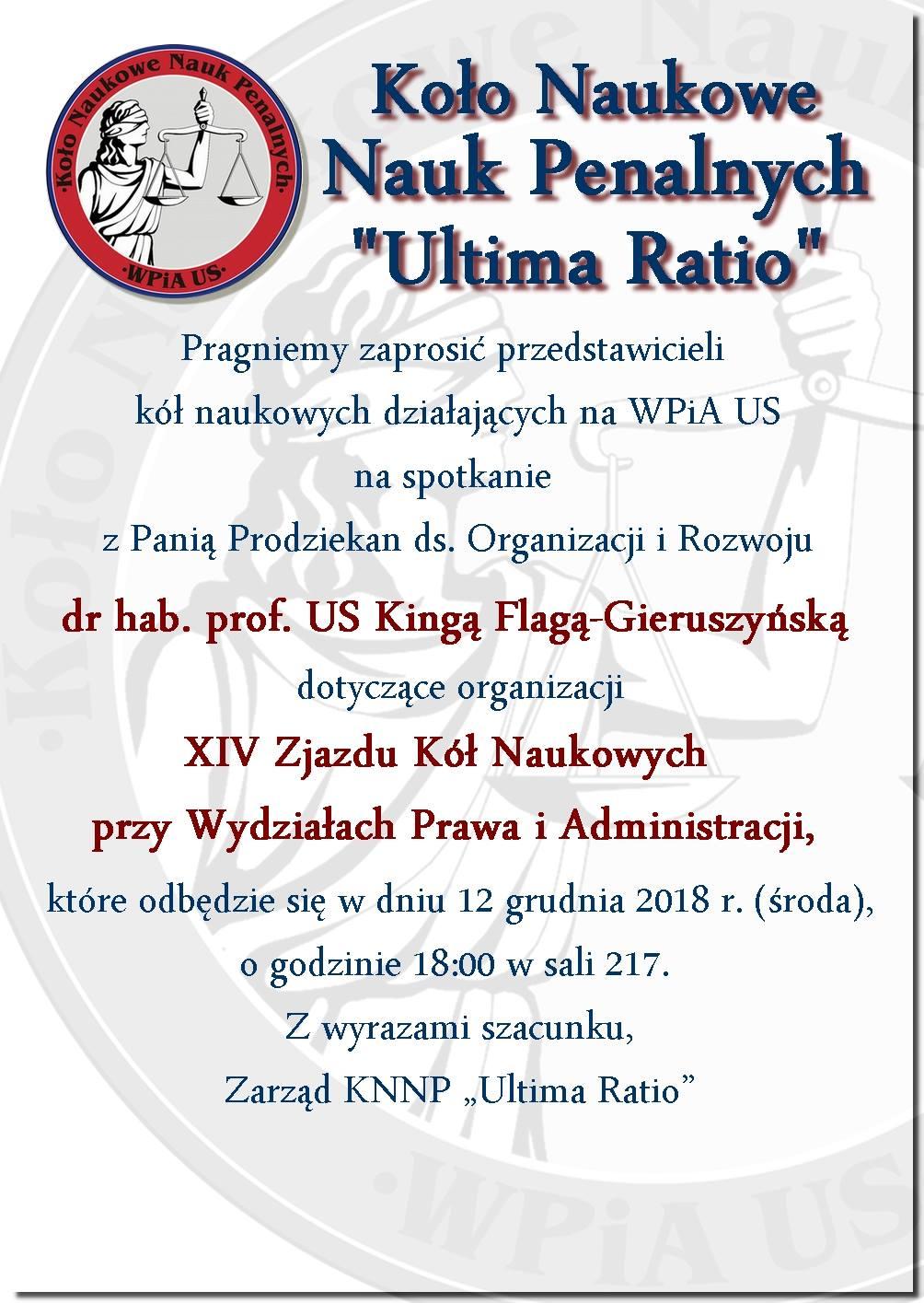 Spotkanie przedstawicieli kół naukowych WPiA US dot. organizacji XIV Zjazdu Kół Naukowych