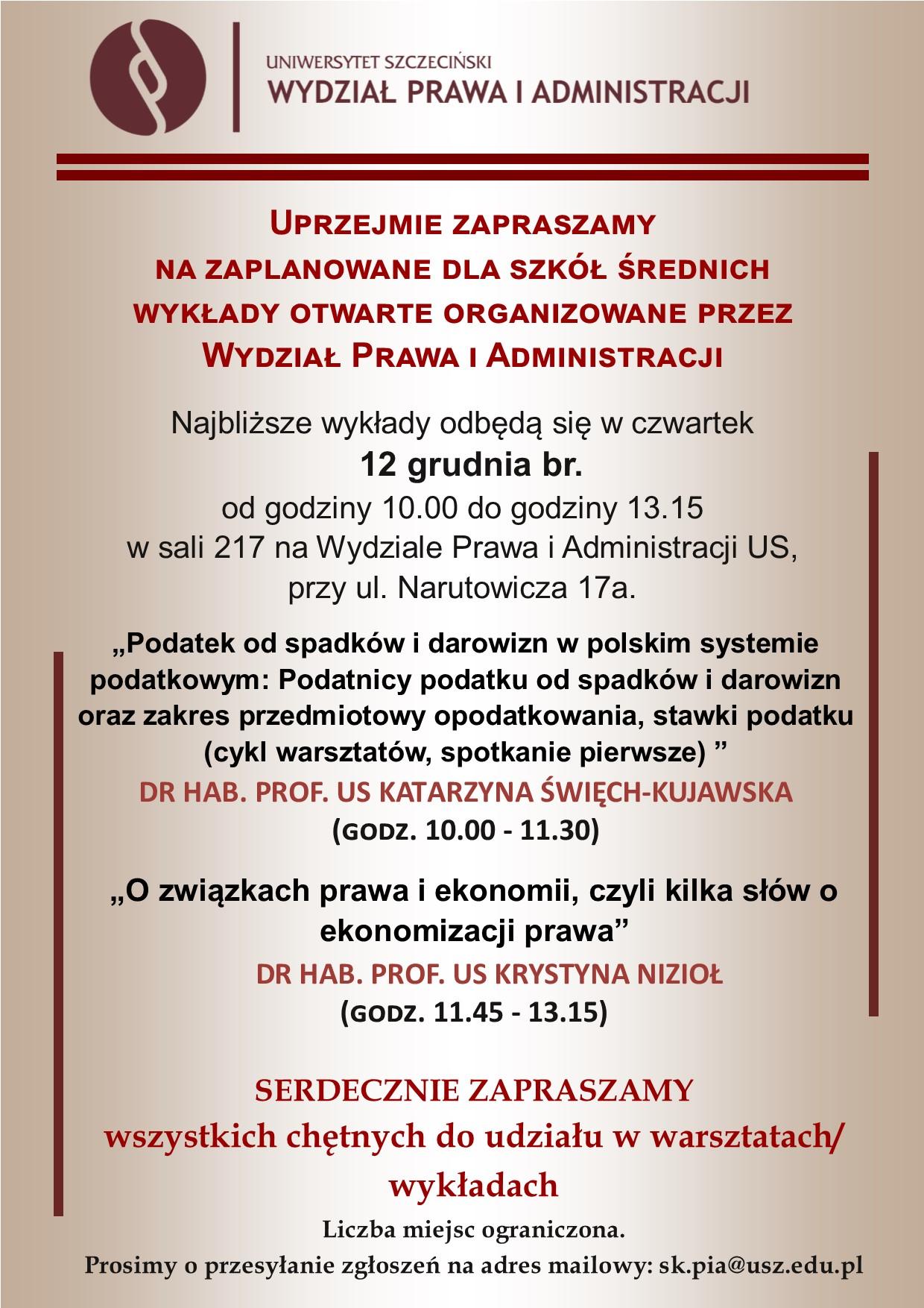 Wykłady na WPiA dla szkół średnich – 12 grudnia br. (czwartek, g. 10.00 – 13.15)