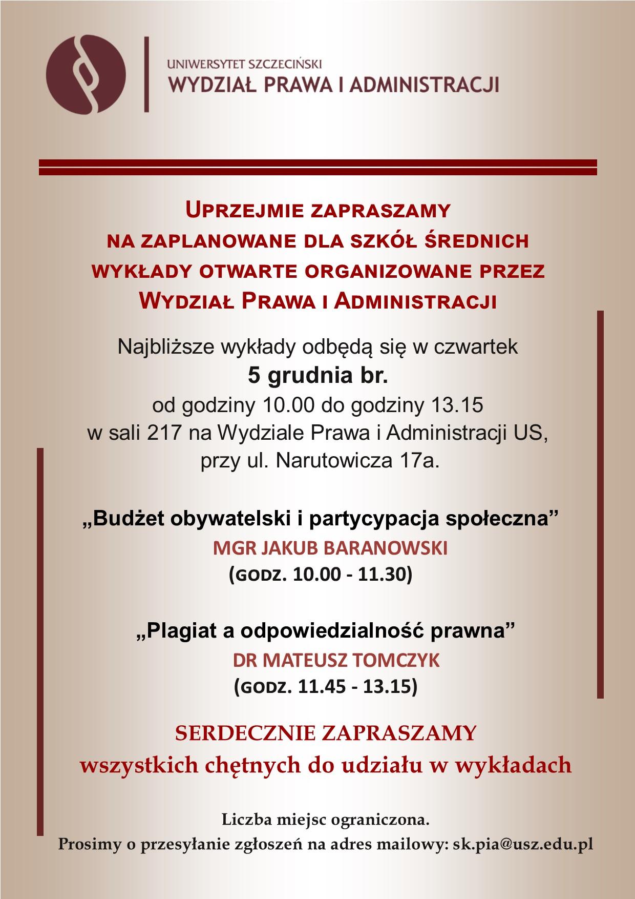 Wykłady na WPiA dla szkół średnich – 5 grudnia br. (czwartek, g. 10.00 – 13.15)