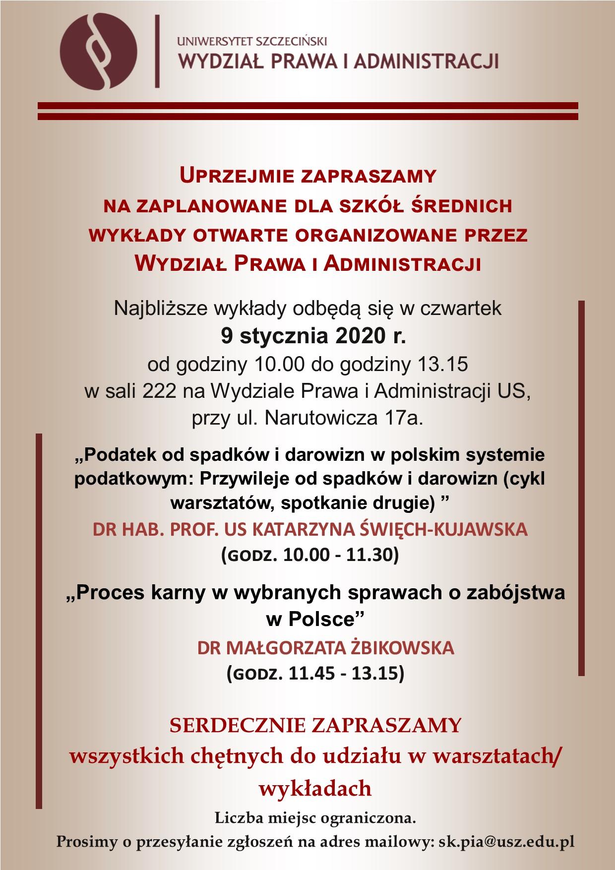 Wykłady na WPiA dla szkół średnich – 9 stycznia 2020 r. (czwartek, g. 10.00 – 13.15)
