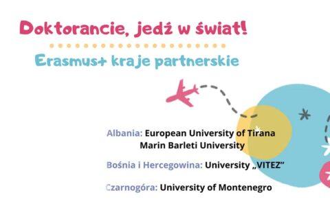 Kwalifikacja dla studentów studiów III stopnia/doktorantów na wyjazdy na studia do krajów partnerskich w programie Erasmus+