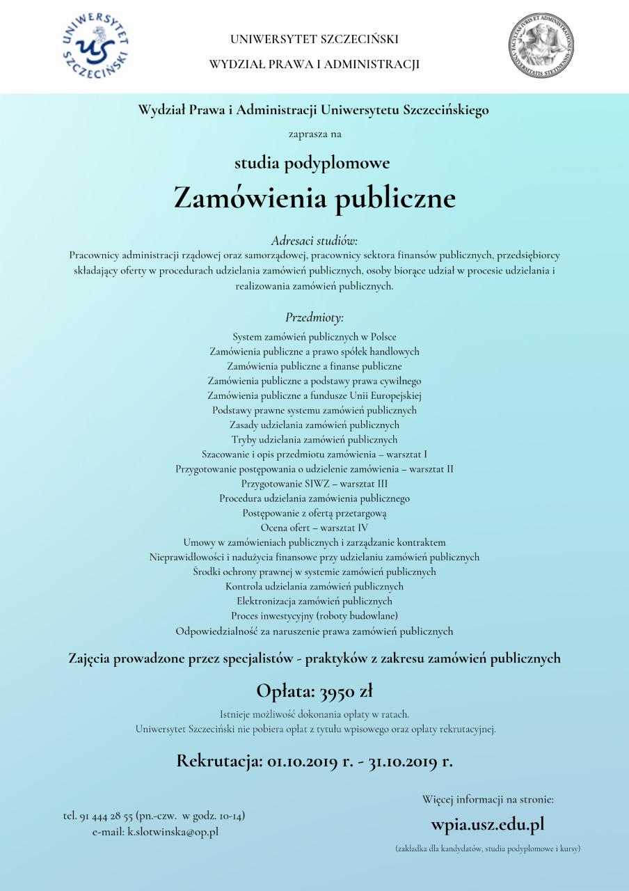 Studia Podyplomowe Zamówienia publiczne – rekrutacja