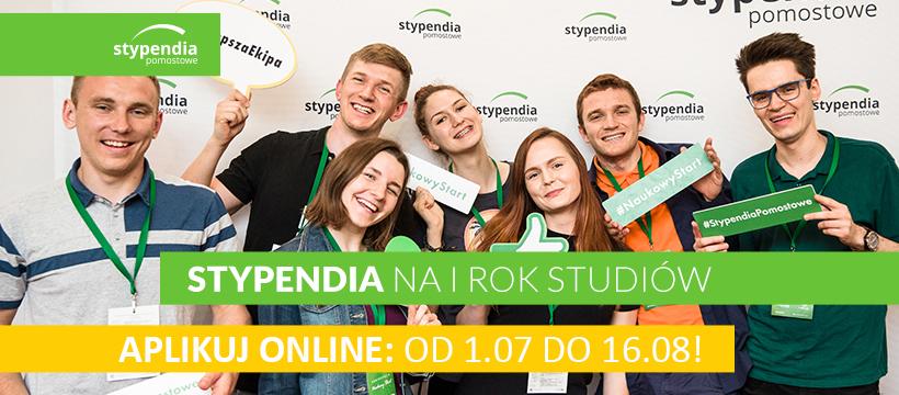 Stypendia Pomostowe na I rok studiów – zgłoszenia do 16 sierpnia br.